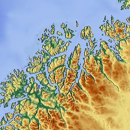 Elevation Map Of Troms Norway MAPLOGS - Norway elevation map