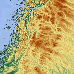 Elevation Map Of NordTrondelag Norway MAPLOGS - Norway elevation map