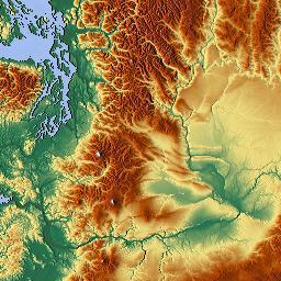 Elevation map of Oregon USA MAPLOGS