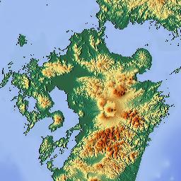 Elevation Map Of Kyushu Japan MAPLOGS - Japan map kyushu