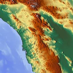 Elevation Map Of Riverside County CA USA MAPLOGS - California map riverside county