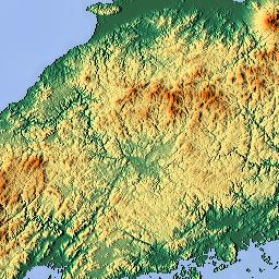 Elevation map of Hiroshima Prefecture Japan MAPLOGS
