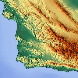 Elevation Map Of Los Angeles County CA USA MAPLOGS - Elevation map of california