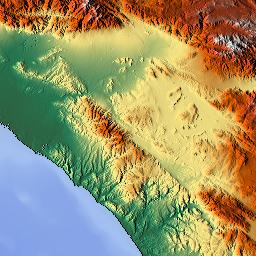 Elevation Map Of San Diego County CA USA MAPLOGS - Elevation map of california